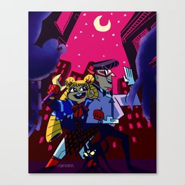 Kickin' Butt By Moonlight Canvas Print