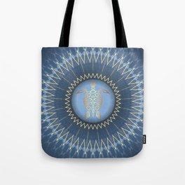 Dark Blue Gold Turtle And Mandala Tote Bag