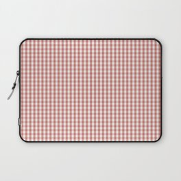 Small Camellia Pink and White Gingham Check Plaid Laptop Sleeve
