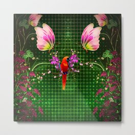 Cute parrot with flowers and butterflies Metal Print