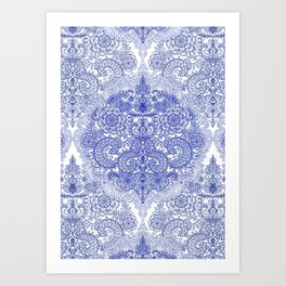 Happy Place Doodle in Cornflower Blue, White & Grey Art Print