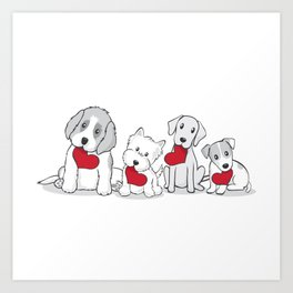 Valentine's Day Dogs Art Print