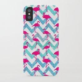 Go Flamingo! Tropical Pink Neon Flamingos Teal Glitter Chevron iPhone Case