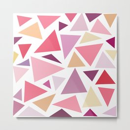 Modern pink pastel colors triangles pattern Metal Print