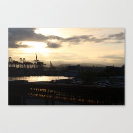 Vancouver Harbour and Seabus tunnel at sunrise Canvas Print