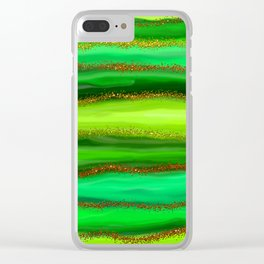 Green Watercolour Stripes Clear iPhone Case