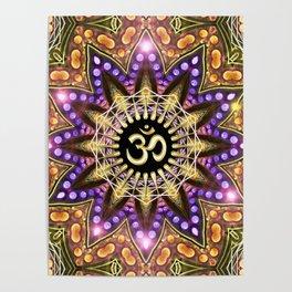 OM SHANTI Magic Lights Mandala Poster