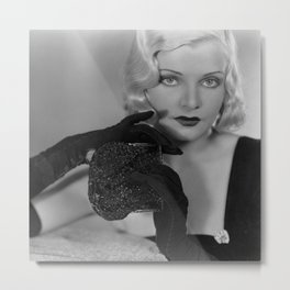 CLAIRE LUCE OPERA GLOVES PHOTOGRAPH ART DECO SULTRY VAMP BLONDE VIXEN Metal Print