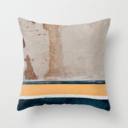Downtown Textures In Blue And Yellow Paint Throw Pillow
