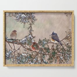Three Little Birds in a Blizzard Serving Tray