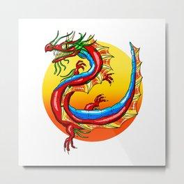 Chinese Dragon In The Sun Metal Print