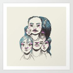 head full of twisted noodles Art Print