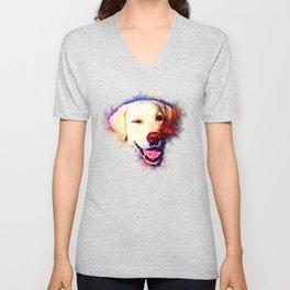 labrador retriever dog winking splatter watercolor Unisex V-Neck