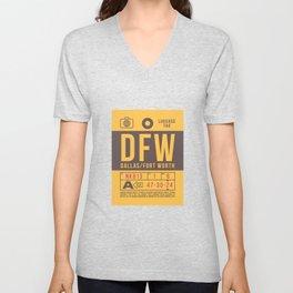 Baggage Tag B - DFW Dallas Fort Worth USA Unisex V-Neck