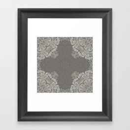 Gray and beige mandala pattern Framed Art Print