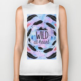 Wild at Heart - Boho Watercolor Feathers Biker Tank