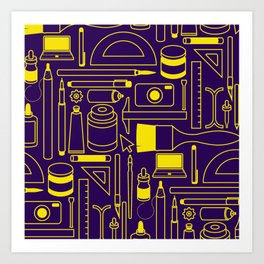 Art Supplies - Eggplant and Yellow Art Print