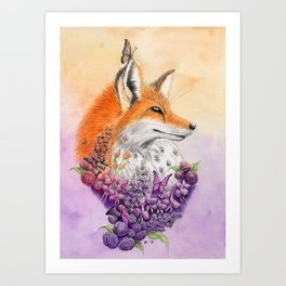 Fox and Flowers Art Print