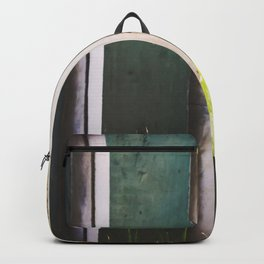 green cactus with green and white wood wall background Backpack