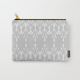 Art Deco Delicate Grey & White Pattern Carry-All Pouch