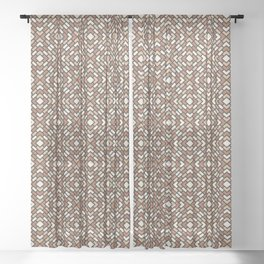 Cavern Clay SW 7701, Ligonier Tan SW 7717 and Creamy Off White SW7012 Diamond Rectangle Pattern Sheer Curtain