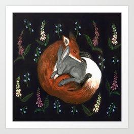 Foxgloves and Harebells Art Print