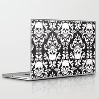 damask Laptop & iPad Skins featuring Skull Damask by Stevyn Llewellyn