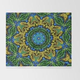 Lovely Healing Mandalas in Brilliant Colors: Hunter Green, Green, Navy, Light Blue, and Goldenrod Throw Blanket