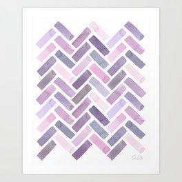 Pink Herrringbone Watercolor Illustration Art Print