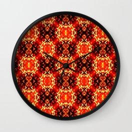 Orange black geometric ornament retro vintage pattern Wall Clock