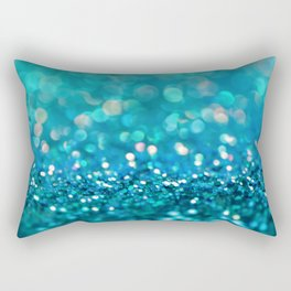 Teal turquoise blue shiny glitter print effect - Sparkle Luxury Backdrop Rectangular Pillow