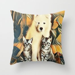 Puppy and Kittens Throw Pillow