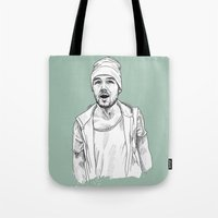 liam payne Tote Bags featuring Liam Payne  by Cécile Pellerin