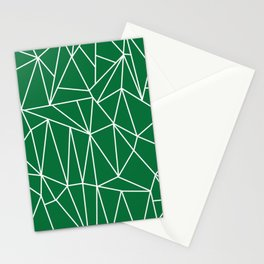 Geometric Cobweb (White & Olive Pattern) Stationery Cards