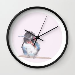 Hummingbird on pink background Wall Clock