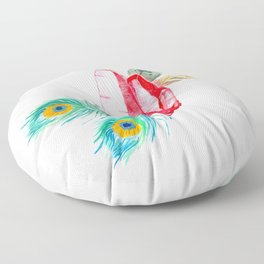 Crystals and Feathers - Ruby Floor Pillow