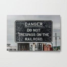 Railway Warning Railroad Trespass Sign Metal Print