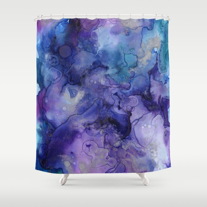 Abstract Watercolor Coastal Indigo Blue Purple Shower Curtain