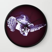 sea turtle Wall Clocks featuring Sea Turtle by DistinctyDesign