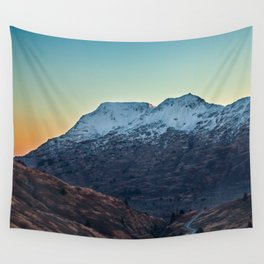 Sunset on a Snow Covered Mountain Photography Print Wall Tapestry