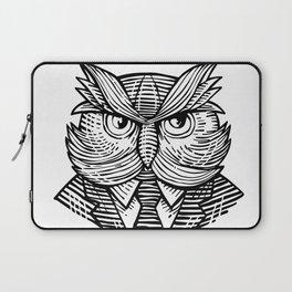 Hip Wise Owl Suit Woodcut Laptop Sleeve