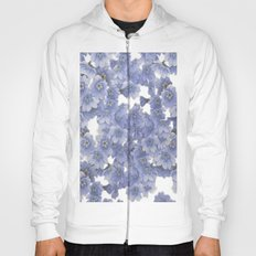 Pale blue on white floral Hoody