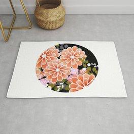 Japanese Circle 7 Golden Chrysanthemum Flower Rug