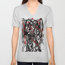 Abstract in Gray, Red, White, and Black Unisex V-Neck