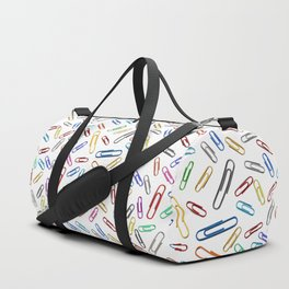 Paperclips Handdrawn in Rainbow Duffle Bag