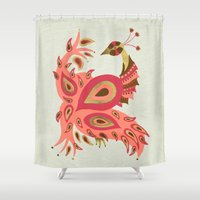 rose gold Shower Curtains featuring Peacock – Rose & Gold by Cat Coquillette