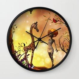 Cute giraffe baby with little fairy Wall Clock