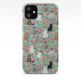 Cats floral mixed breed cat art cute gifts for cat ladies cat lovers pet art iPhone Case