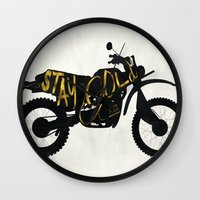 stay gold Wall Clocks featuring Stay Gold by Ride The Storm