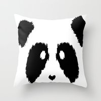 boobs Throw Pillows featuring Panda Boobs by Lizard Illustration